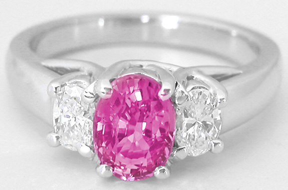 Three Stone Engagement Ring with Pink Sapphire and ...