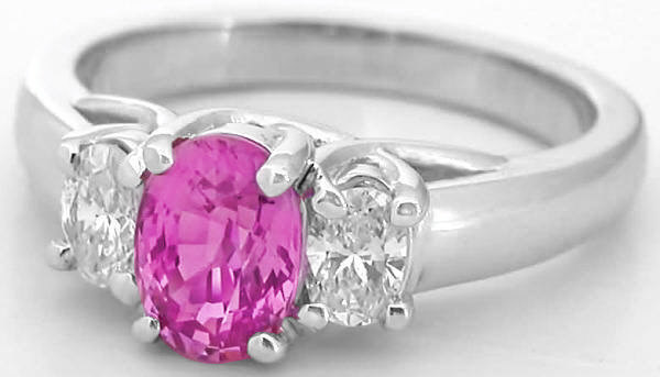Three Stone Ring With Oval Pink Sapphire And Oval Diamonds In 14k White Gold From