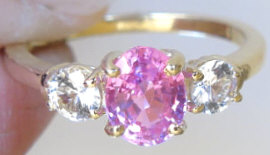 Pink Sapphire White Sapphire Engagement Ring