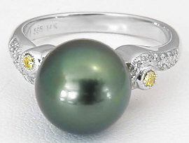 Tahitian Pearl and Yellow Diamond Ring in 14k White Gold