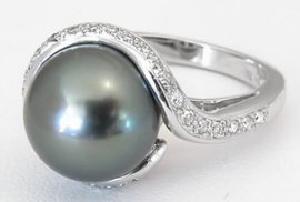 Tahitian Pearl and Diamond Rings in 18k White Gold