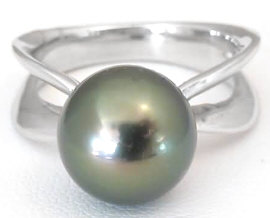 Tahitian Pearl Solitaire Ring in 14k White Gold