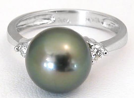 Tahitian Pearl and Diamond Ring in 18k White Gold