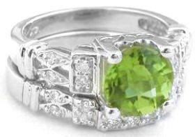 Peridot and Diamond Engagement Ring  and Wedding Band in 14k white gold