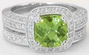 Peridot Engagement Rings with Matching Band