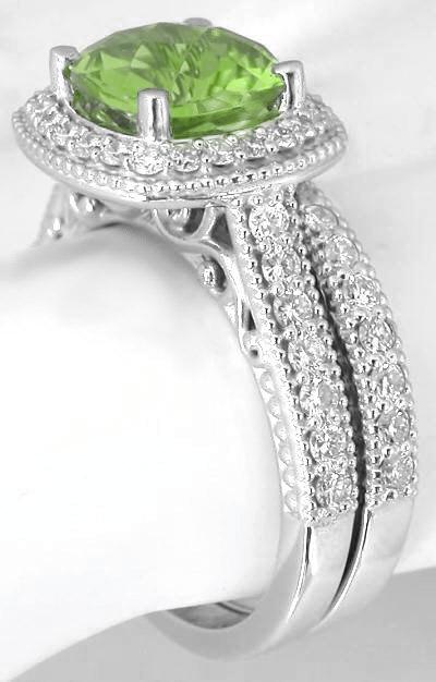 Cushion Cut Peridot Diamond Halo Engagement Ring and