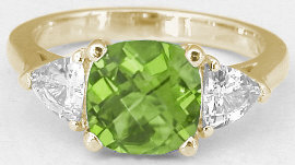 Peridot and White Sapphire Ring in 14k Yellow Gold