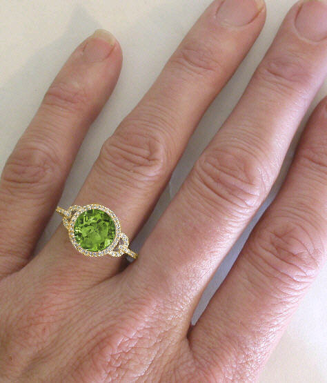 c8a7a1b8a7947 Striking 2.65 ctw Peridot and Diamond Halo Ring in 14k yellow gold