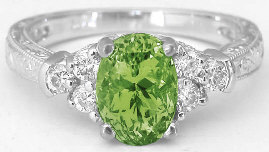 Peridot Engagement Rings with Engraving