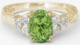 August Birthstone Peridot Engagement Ring in 14k yellow gold