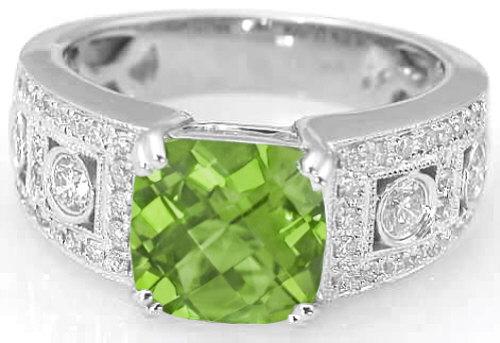 285 ctw cushion cut peridot and diamond wide band wedding ring - Wide Band Wedding Rings