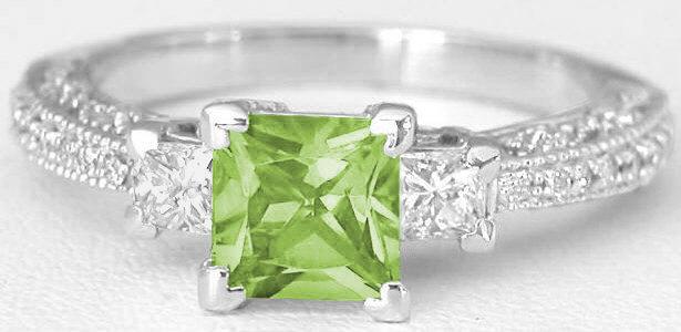 Vintage Princess Cut Peridot And Princess Cut Diamond Ring