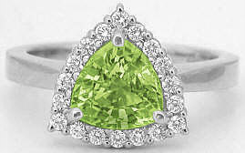 Trillion Cut Peridot Rings