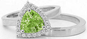Trillion Peridot and Diamond Engagement Ring in 14k with matching band