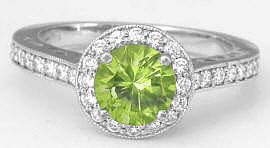 Diamond Halo Round Peridot Rings 14k