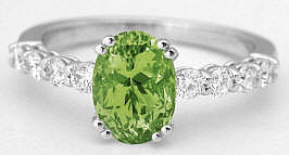 Oval Peridot and Diamond Ring in 14k white gold