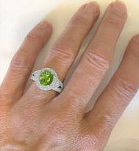 Natural Peridot Ring in 14k