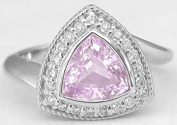 Bezel Set Trillion Pink Sapphire And Diamond Halo Ring In
