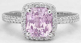 Radiant Cut Light Pink Sapphire and Diamond Ring in 14k white gold