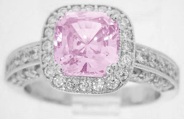 Cushion Cut Bubblegum Pink Sapphire and Diamond Halo Engagement Ring and Matc