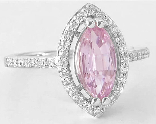 Marquise Light Pink Sapphire Engagement Ring With Diamond Halo Setting In 14k White Gold Gr 5956