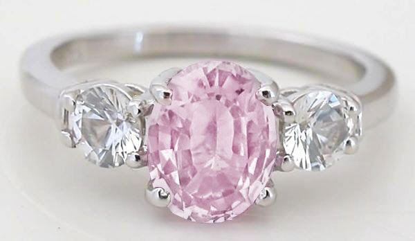 Unheated Pink Sapphire Rings with White Sapphires in 14k white