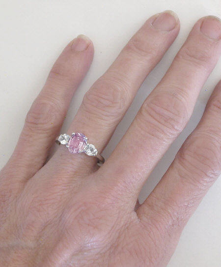 right pink topaz hand ring rings ladies flower diamond gold wh