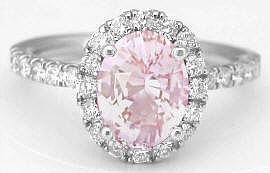 Light Pink Sapphire and Diamond Halo Rings