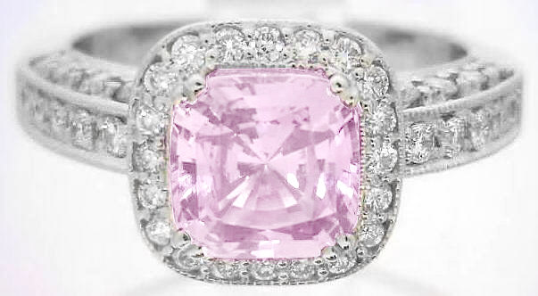 Cushion Cut Bubblegum Pink Sapphire and Diamond Halo Engagement