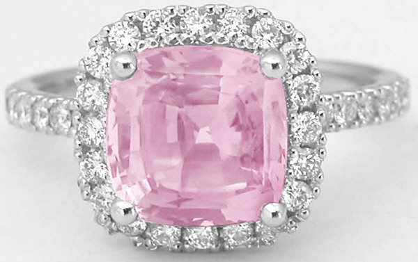 Unheated Pink Sapphire Ring Cushion 3 69 Ctw Pink Sapphire And Diamond 14k White Gold