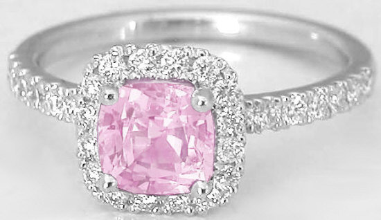 Unheated Light Pink Sapphire Engagement Ring Cushion 1 48 Ctw 14k Rose Gold