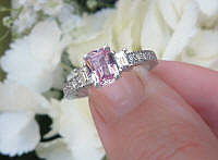 Radiant Cut Natural Pink Sapphire Wedding Ring with Baguette Diamonds in solid 14k white gold for sale