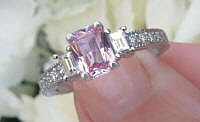 Radiant Cut Natural Pink Sapphire Ring with Baguette Diamonds in solid 14k white gold for sale