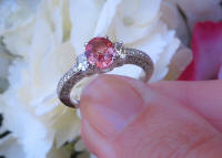 Antique Style Ceylon Natural Oval Cut Pink Sapphire Wedding Ring with 14k white gold band for sale