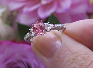 Vintage Style Sri Lankan Natural Oval Cut Pink Sapphire Engagement Ring with 14k white gold band for sale