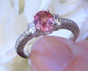 Vintage Style Sri Lankan Natural Oval Cut Pink Sapphire Wedding Ring with 14k white gold band for sale