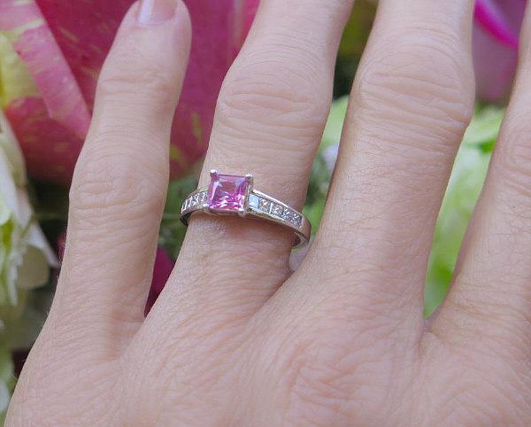 14KT White Gold /& Natural Princess Cut Pink Sapphire FREE SHIPPING