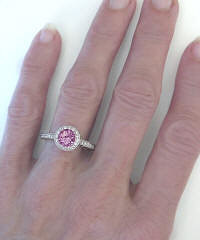 Round Pink Sapphire and Diamond Ring in 14k white gold