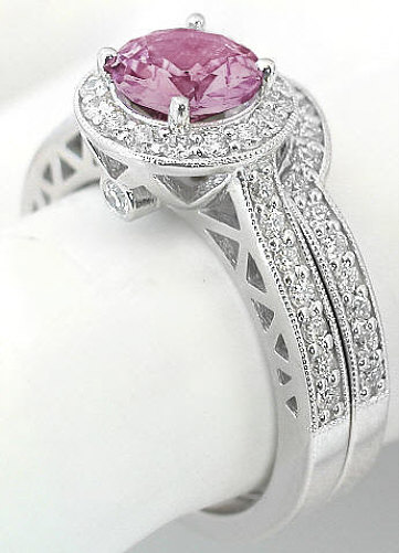 Genuine Natural Round Pink Sapphire Engagement Ring With Diamond Halo And Lattice Detail