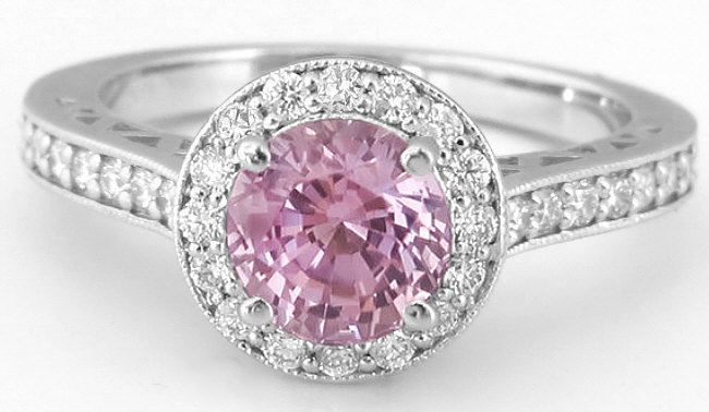 Round Pink Shire White Gold Engagement Ring With Diamond Halo And Lattice Detail