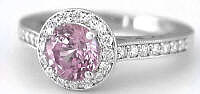 Genuine Round Pink Sapphire Ring with Diamond Halo in 14k white gold