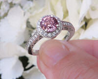 Round Natural Pink Sapphire Ring with Real Diamond Halo with diamonds set in 14k white gold band