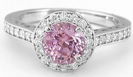Round Pink Sapphire Ring with Diamond Halo in 14k white gold