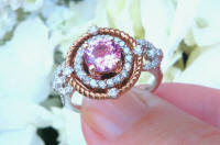 Unique Natural Round Pink Sapphire and Diamond Statement Ring with Real Diamond Halo and Rose Gold Rope design halo in 14k white gold for sale