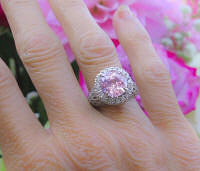 Large Natural 6 carat Pink Sapphire Statement Ring with real diamonds in unique white gold setting