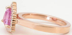 Trillion Pink Sapphire Diamond Halo Engagement Ring in 14k rose gold