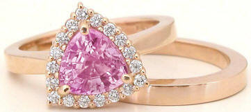 Trillion Pink Sapphire and Diamond Engagement Ring in 14k rose gold
