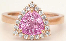 ec02fcb90bc63 1.80 ctw Trillion Pink Sapphire and Diamond Halo Ring in 14k rose gold
