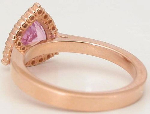 Pink Gemstone Ring with Trillion Cut Pink Sapphire 14k Rose Gold GR