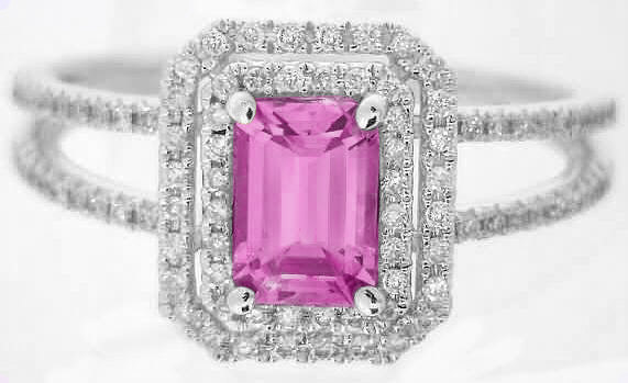 Pink Sapphire Ring - Emerald Cut with Double Diamond Halo ...